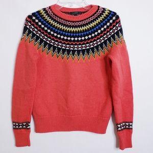 J. CREW Fair Isle Ski Sweater Orange Size Medium